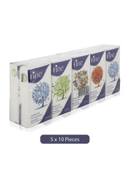Fine Mixed Perfumed Pocket Facial Tissues, 10 Pieces x 10 Sheets x 3 Ply