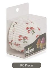 Falcon 9.5cm 100-Pieces Cake Cup, Floral, White