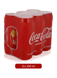 Coca Cola Soft Drink, 6 Cans x 330ml