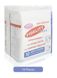 Fidelity Super Absorbent Medium Adult Diapers, 10 Pieces