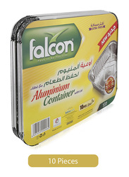 Falcon 10-Piece 131 Extra Thick Aluminium Food Storage Containers with Lid, Silver