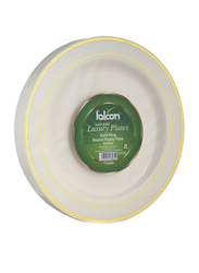 Falcon 22.5cm 20-Piece Gold Ring Disposable Round Ivory Plastic Plates, White