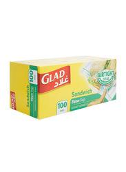 Glad Airtight Seal Sandwich Zipper Bags, 100 Bags, 14.4 x 16.5 cm