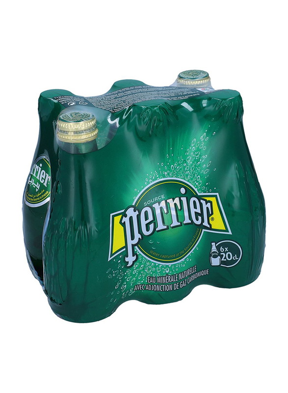 Perrier Sparkling Natural Mineral Water, 6 Bottles x 200ml