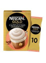 Nescafe Gold Cappuccino Unsweetened Taste Coffee, 10 Sachets x 14.2g