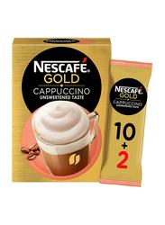 Nescafe Gold Cappuccino Unsweetened Coffee, 12 Sachet x 14.2gm