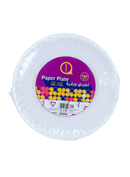 Aswaaq 7-inch 100-Pieces Paper Round Plate, White