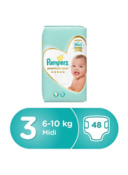 Pampers Premium Care Diapers, Size 3, Midi, 6-10 Kg, Jumbo Pack, 48 Count