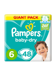 Pampers Baby-Dry Diapers, Size 6, 13+ Kg, Mega Pack, 48 Count