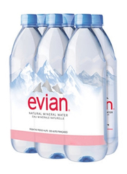 Evian Natural Mineral Water, 6 Bottles x 1 Liter