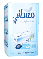 Masafi White Facial Tissues, 4 Boxes x 200 Sheets x 2Ply