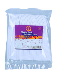 Aswaaq 50-Pieces Plastic Fork, White