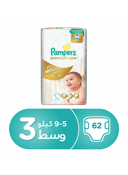Pampers Premium Care Diapers, Size 3, Medium, 5-9 kg, Value Pack, 62 Count