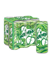 Mirinda Green Apple Carbonated Soft Drink, 6 Cans x 330ml
