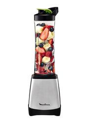 Moulinex 600ml Smoothie Personal Blender, 300W, LM1A0D27, Silver/Black