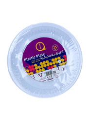 Aswaaq 22cm 25-Pieces M8 Plastic Round Plate, White