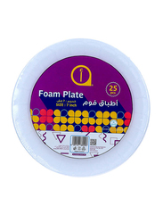 Aswaaq 7-inch 25-Pieces Foam Round Plate, White