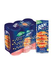 Rani Float Peach No Added Sugar Fruit Drink, 6 Cans x 240ml