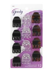 Goody Classics Small Half Darla Claw Clips, 12-Pieces, Black/Brown/White