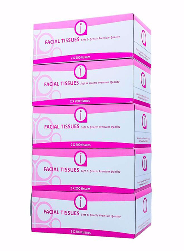 Aswaaq Face Tissue, 5 Boxes x 200 Sheets x 2 Ply