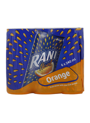 Rani Float Orange Fruit Drink with Real Fruit Pieces, 6 Cans x 240ml
