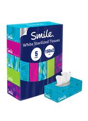 Fine Smile Facial Tissues, 5 Boxes x 150 Sheets x 2 Ply