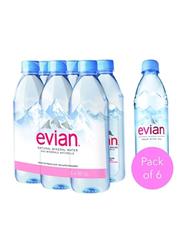 Evian Prestige Natural Mineral Water, 6 Bottles x 500ml