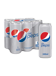 Pepsi Diet Soft Drink, 6 Cans x 330ml