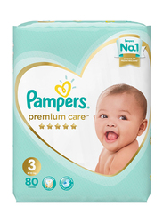 Pampers Premium Care Diapers, Size 3, Midi, 6-10 Kg, Jumbo Pack, 80 Count