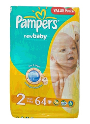 Pampers New Baby Diapers, Size 2, Small, 3-6 kg, Value Pack, 64 Count