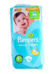 Pampers Baby Dry Diapers, Size 4 Plus, 9-16 kg, Jumbo Pack, 56 Count