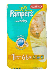 Pampers New Baby Diapers, Size 1, Newborn, 2-5 kg, Value Pack, 66 Count