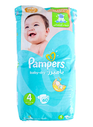 Pampers Baby Dry Diapers, Size 4, 8-14 kg, Jumbo Pack, 60 Count