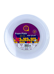 Aswaaq 9-inch 25-Pieces Foam Round Plate, White