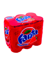 Fanta Strawberry Soft Drink, 6 Cans x 330ml