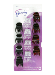 Goody Classics 3 Prong Mini Erica Claw Clip, 12-Pieces, Black/Brown/White