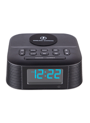 Roomwell UK Vyro Wireless Charging with Digital Alarm Clock Radio and Bluetooth for Mobiles/Tablets, Black