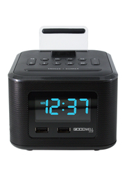 Roomwell UK Wake & Play Charging Dock Station with Multi-Function Alarm Clock and Dual Port USB for Mobile Phones/Tablets, Black