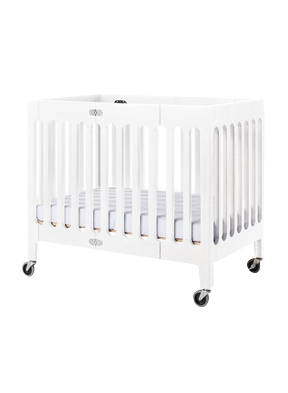 Foundations USA Boutique Wooden Compact Foldable Crib, Matte White