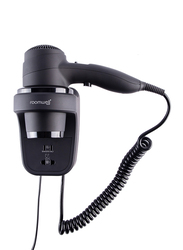Roomwell UK Classic Hair Dryer with Saver Socket, 1800W, Black