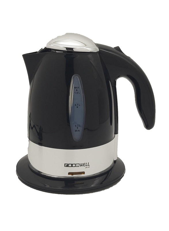 Roomwell UK 1L Retro ABS Electric Kettle, 1850-2200W, EKRE 4116, Black