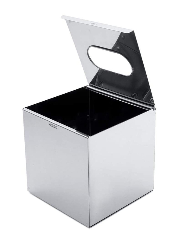 Roomwell UK Stainless Steel Square Tissue Box, Silver