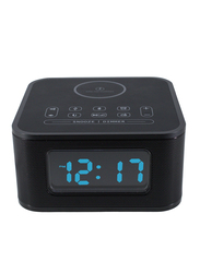 Roomwell UK Wireless Charger with Digital Alarm Clock, Radio and Bluetooth for Mobiles/Tablets, Black