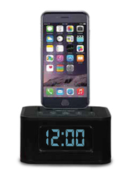 Roomwell UK Charging Dock Station with Style Alarm Clock and FM Radio for All Smart Devices, Black