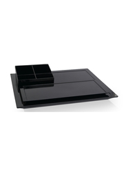 Roomwell UK 3-Piece Spacious Main Tray + Condiment Holder + Serving Tray Set, Black