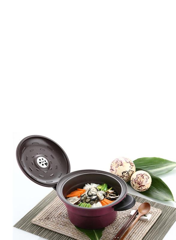 Roichen 2.7 Ltr Round Ceramic Smart Pot Casserole, 1.53 Kg, 56.5x25x13cm, Violet