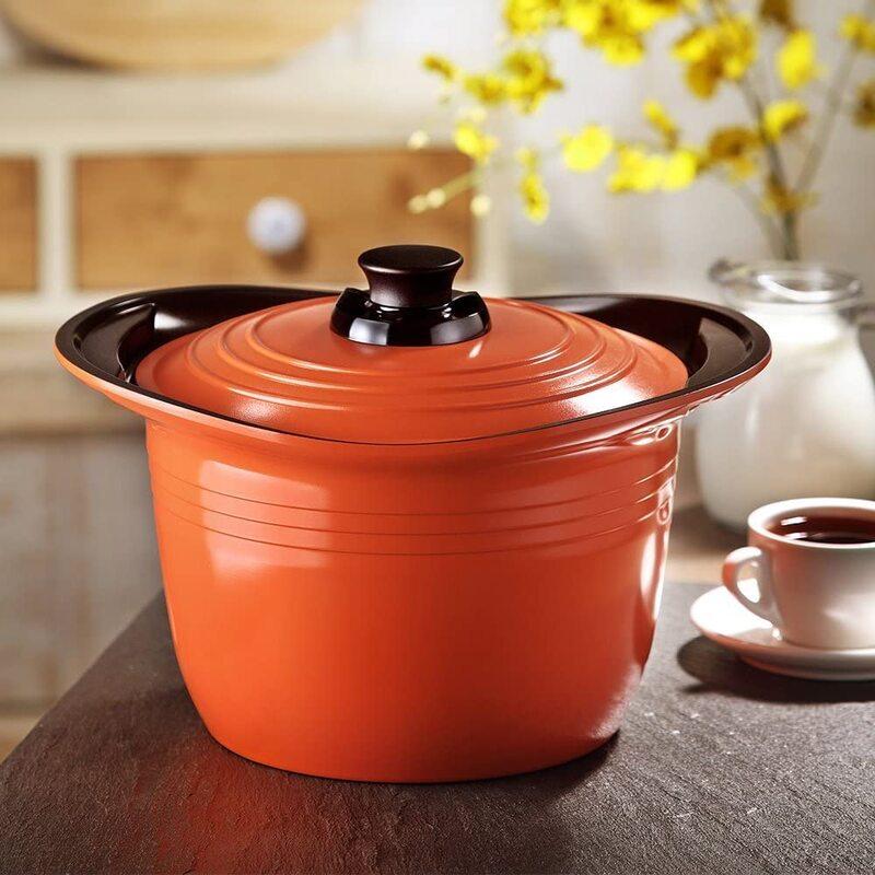 Roichen 26cm Premium Ceramic High Casserole, 35x29x16.5cm, Orange