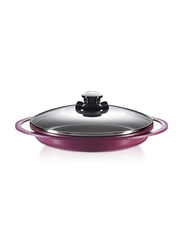 Roichen 28cm Round Ceramic Grill Pan with Glass Lid, 35x30x8cm, Violet