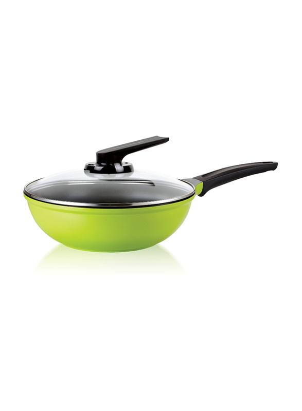 Roichen 3.7Ltr Non-Stick Round Ceramic Wok Pan with Lid, 29.5x29.5x8.7cm, Green