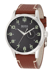 Hugo Boss Analog Watch for Men with Leather Band, Water Resistant, 1512723, Brown-Black